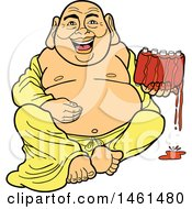Cartoon Laughing Buddha Sitting And Holding Saucy Ribs