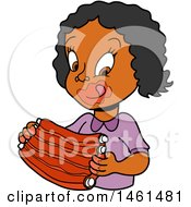 Clipart Of A Cartoon Black Girl Licking Bbq Sauce Off Of Her Lips And Eating Ribs Royalty Free Vector Illustration
