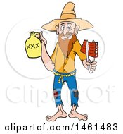 Clipart Of A Cartoon Hillbilly Man Holding A Bottle Of Risky And Bbq Ribs Royalty Free Vector Illustration by LaffToon