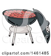 Cartoon Kettle Bbq Grill With Charcoal