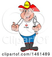 Cartoon Pig Fireman Holding A Thumb Up And A Bbq Fork
