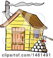 Cartoon Woodpile By A Smokehouse