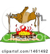 Clipart Of A Cartoon Wild Boar Cooking On A Spit Over A Fire Royalty Free Vector Illustration by LaffToon