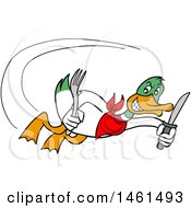 Cartoon Mallard Duck Flying With A Knife And Fork