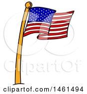 Poster, Art Print Of Cartoon American Flag Pole