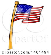 Clipart Of A Cartoon American Flag Pole Royalty Free Vector Illustration