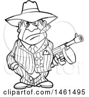 Cartoon Black And White Gangter Holding A Tommy Gun