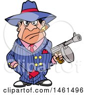 Cartoon Gangter Holding A Tommy Gun