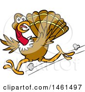 Cartoon Scared Turkey Running And Looking Back