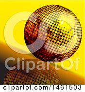 3d Golden Disco Ball On A Slanted Reflected Surface