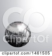 3d Silver Disco Ball On A Grayscale Background