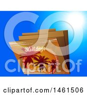 Clipart Of Palm Trees And Holiday Text On File Folders Over Blue Royalty Free Vector Illustration
