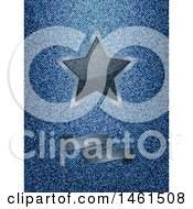 Clipart Of A Semi Transparent Ribbon Banner And Star Over Blue Denim Royalty Free Vector Illustration by elaineitalia