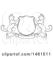 Black And White Heraldic Coat Of Arm Shield Of Two Cats