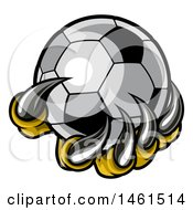 Clipart Of A Clawed Creature Holding A Soccer Ball Royalty Free Vector Illustration by AtStockIllustration
