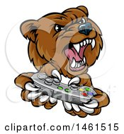 Mad Grizzly Bear Mascot Holding A Video Game Controller