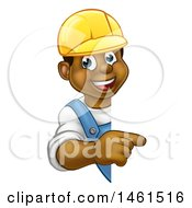 Clipart Of A Cartoon Happy Black Male Worker Wearing A Hardhat And Pointing Around A Sign Royalty Free Vector Illustration by AtStockIllustration