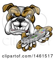 Tough Bulldog Mascot Holding A Video Game Controller