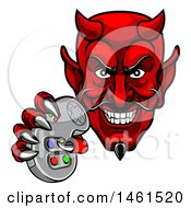Clipart Of A Grinning Evil Red Devil Holding A Video Game Controller Royalty Free Vector Illustration by AtStockIllustration