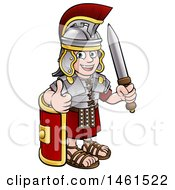 Poster, Art Print Of Cartoon Happy Roman Soldier Giving A Thumb Up Holding A Sword And Leaning On A Shield