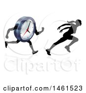 Clipart Of A Silhouetted Woman Sprinting And Racing A Clock Character Royalty Free Vector Illustration by AtStockIllustration