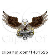 Clipart Of A Cartoon Swooping American Bald Eagle With A Video Game Controller In Its Talons Royalty Free Vector Illustration