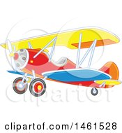 Clipart Of A Cute Colorful Biplane Royalty Free Vector Illustration by Alex Bannykh
