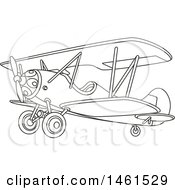 Cute Black And White Biplane