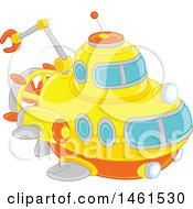 Clipart Of A Cute Submarine Royalty Free Vector Illustration