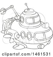Clipart Of A Cute Black And White Submarine Royalty Free Vector Illustration
