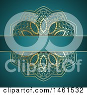 Clipart Of A Gold Mandala Design On Teal Royalty Free Vector Illustration