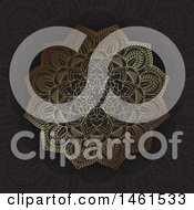 Clipart Of A Mandala Design In Gold On Black Royalty Free Vector Illustration
