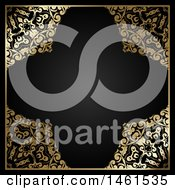 Clipart Of A Black And Ornate Floral Gold Border Design Royalty Free Vector Illustration