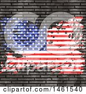 Clipart Of A Brick Wall With A Grungy American Flag Royalty Free Vector Illustration