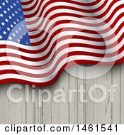 Clipart Of A Wood Background With A Waving American Flag Royalty Free Vector Illustration