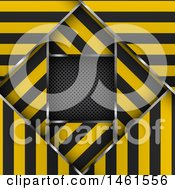 Clipart Of A Background Of Layered Warning Stripe Borders Over Metal Royalty Free Vector Illustration