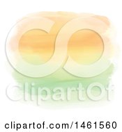 Clipart Of A Background Of Orange And Green Watercolor Paint Strokes Royalty Free Vector Illustration
