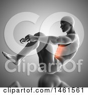 3d Anatomical Man Doing Sit Ups With Glowing Abdominal Muscles On Gray
