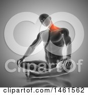 Poster, Art Print Of 3d Fit Anatomical Man Stretching His Neck With Glowing Pain On Gray