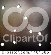 Clipart Of A 3d Metal Background With Bullet Holes Royalty Free Illustration by KJ Pargeter