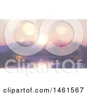 Clipart Of A Lake Landscape With Flares And Sunrise Royalty Free Illustration