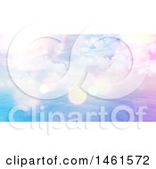 Clipart Of A Background Of A Cloudy Sunny Sky Over The Ocean With Flares Royalty Free Illustration