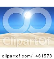 Clipart Of A Clear Blue Sunny Sky Over A 3d Ocean And White Sand Royalty Free Illustration