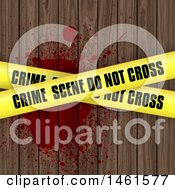 Clipart Of A Background Of Crime Scene Tape Over Blood On Wood Royalty Free Vector Illustration