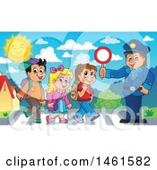 Clipart Of A Police Officer Holding A Sign While Children Walk On A Crosswalk Royalty Free Vector Illustration