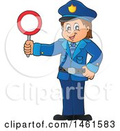 Clipart Of A Police Officer Holding A Sign Royalty Free Vector Illustration by visekart