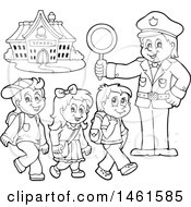 Clipart Of A Black And White Police Officer Holding A Sign While Children Walk On A Crosswalk Royalty Free Vector Illustration by visekart