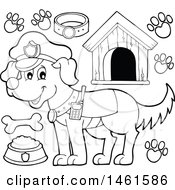 Clipart Of A Black And White Police Dog And Accessories Royalty Free Vector Illustration by visekart