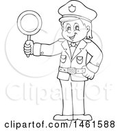 Clipart Of A Black And White Police Officer Holding A Sign Royalty Free Vector Illustration by visekart