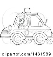 Clipart Of A Police Officer Driving A Car Royalty Free Vector Illustration by visekart